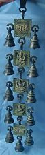 RARE BRASS LORD GANESHA GODDESS LAXMI PRAYER BELLS STRING 5 BLOCKS WALL HANGING