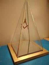 Franc-Maçonnerie pyramide verre suspension Équerre/Compas