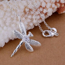 SALE Silver Plated 925 Dragonfly Crystal CZ Butterfly Wings Pendant Necklace 938