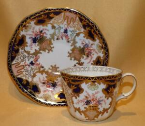ROYAL CROWN DERBY PATTERN 3788 CUP & SAUCER DATED 1913