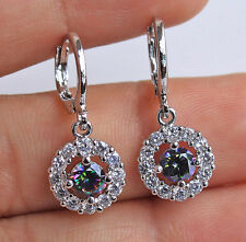 18K White Gold Filled - Round Hollow MYSTICAL Topaz Lady Gemstone Hoop Earrings