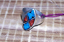 Womens Size 9 - 8 ¾ Turquoise and Coral Ring Old Pawn Cowgirl Western Jewelry 2
