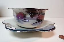 Chikusa Japan Gold Castle GRAVY BOAT Handpainted Bowl Attached Plate Japanese