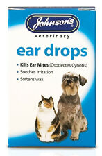 Johnsons Ear Drops For Cats And Dogs Kills Ear Mites, wax softener