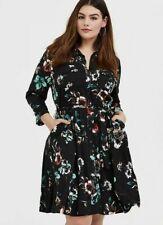 TORRID Black Floral Challis Tie Front Shirt Dress Size 2X (ZG)