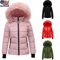 Womens Winter Warm Fur Hooded Jackets Coat Ladies Zipper Puffer Parka Outwear US