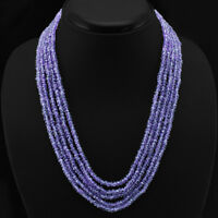 SHINING 274.50 CTS NATURAL PURPLE AMETHYST 5 LINE BEADS NECKLACE - GEM EDH