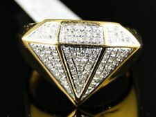 Mens Yellow Gold Finish Diamond Shape Fashion Designer Pinky Ring 0.40 Ct