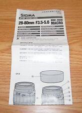 Sigma Af-Mf Zoom Lens 28-80mm F3.5-5.6 Mini Zoom Macro Instructions Manual
