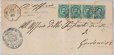 ITALIA REGNO: Sass 37 (4) su BUSTA annullo COLLETTORIA di LUMEZZANE PIEVE 1889