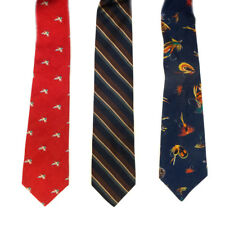 Mixed Lot of 3 Blue Fish Baits, Red Duck and Striped Patterned Men's Ties