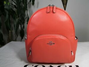 NWT Coach Pebble Leather Court Backpack 5666 Tangerine