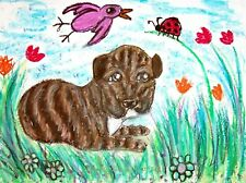 American Pit Bull Terrier Puppy in Garden Pop Folk Art 8 x 10 Giclee Print Ksams