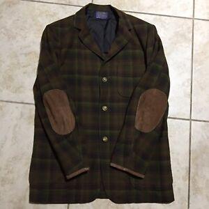 Vintage Pendleton Shacket Shirt Jacket Wool 3 Btn Brown Green Plaid Mens Medium