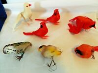 CHRISTMAS ORNAMENT LOT OF 7 BIRDS, 4 RED, 1 DOVE, 1 OWL, 1 BROWN,SOME W/FEATHERS