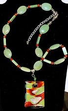 2198~Natural Green Gemstone Bead Necklace W/ Green Silver Murano Glass Pendant**