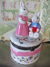 1381  bunny mother and child trinket box  nice add on to gift of money , jewelry