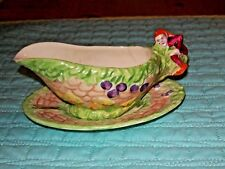 Vintage c.1930,Royal Winton 'PIXIE WARE' sauce boat,embossed,Hand Painted