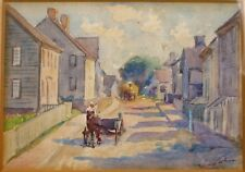 ANTIQUE STACY TOLMAN WATERCOLOR PAINTING OF A TOWN W HORSE PROVIDENCE RI RISD !!