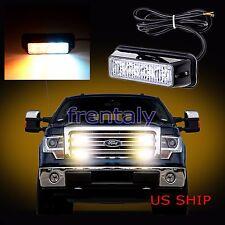 1X 4 LED Car Truck Emergency Beacon Light Bar Hazard Strobe Warning White Amber