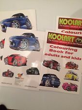 Koolart cartoon colouring book 20 pages of cars MINI FORD SPORT adult children