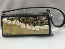 Debbie Brooks Black White Silver Handbag Evening Bag New CRUSHED FLAT PEARLS