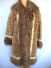 VINTAGE TIBETAN LAMB Shaggy Coat Medium Brown Tan & Ivory