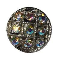 Vintage Pin AB Rhinestone Round Circle Grid  Silver Tone Brooch
