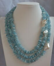 Fashion 3 Row natural Aquamarine & Nucleated Baroque pearls necklace 15-30MM