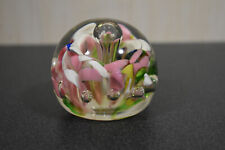 """Vintage Pink White Flower Controlled Bubbles Paperweight 2 1/2"""" diam 2"""" tall"""