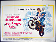 FOR PETE'S SAKE 1974 Barbra Streisand MOTORCYCLE Brian Bysouth UK QUAD POSTER
