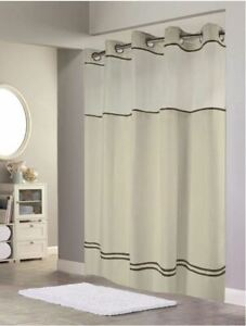 Hookless HBH40ES221 Shower Curtain With Snap-In Liner, Sand With Brown Trim