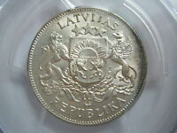 LATVIA 2 lati 1925 PCGS MS 64 UNC
