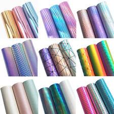 3PCS Assorted Pack Faux Leather Sheets Vinyl Fabric Leatherette Roll Bundle Set