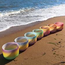 8 Inch 7 Pieces Rainbowl Quartz Crystal Singing Bowl Set Chakra Stone