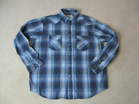 Wrangler Pearl Snap Shirt Adult Extra Large Blue Red Long Sleeve Western Cowboy