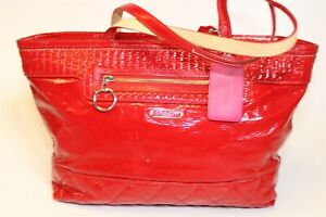 Coach G1176-18674 Womens Large Poppy Red Leather Satchel Shoulder Tote Bag