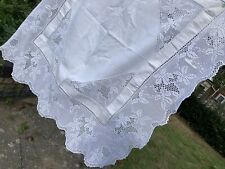 More details for antique fine linen tablecloth crochet lace in serts & border clementine