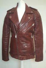 Stunning!bnwt BLK DNM long leather biker.Crimson red. jacket 8.sz XS -uk 8.£815
