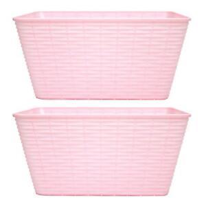 Medium Storage Basket Rattan Style Boxes Pink Cupboard Bathroom Plastic 2 Pack