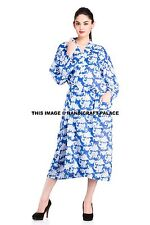 Indian Cotton Block Printed Kimono Blue Floral Bathrobe Dressing Gown Bohemian
