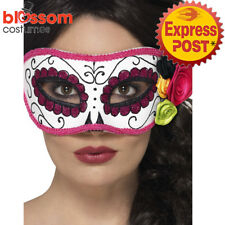 AC176 Day of Dead Mexican Senorita White Pink Rose Costume Eye Mask Halloween