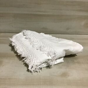"Threshold Macramé Fringe Shower Curtain Cream Beige 72"" x 72"" Square Cotton"