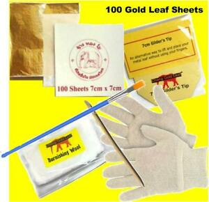 100 x Gold Leaf sheets with accessories for gilding arts crafts design framing