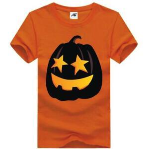 Mens Halloween Pumpkin Printed TShirt Boys Short Sleeve Crew Neck Horror Top