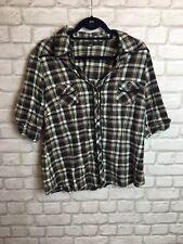 Siguiente Negro Tartán Cuadros Camisa De Verano Tamaño Superior 20 bolsillos frontales Mangas Plegable