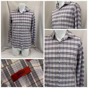 Hugo Boss Dress Shirt 16 32/33 Multicolor Plaid 100% Cotton YGI V1-315