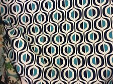 NAVY BLUE DEEP TURQUOISE on WHITE GEOMETRIC OUTDOOR UPHOLSTERY FABRIC
