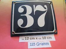 Hausnummer Emaille  Nr. 37 weisse Zahl auf blauem Hintergrund 12 cm x 10 cm