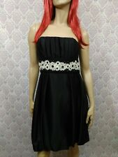 Maria Bianco Nero Strapless Dress Womens L Black Silk Blend Bubble Hem Floral